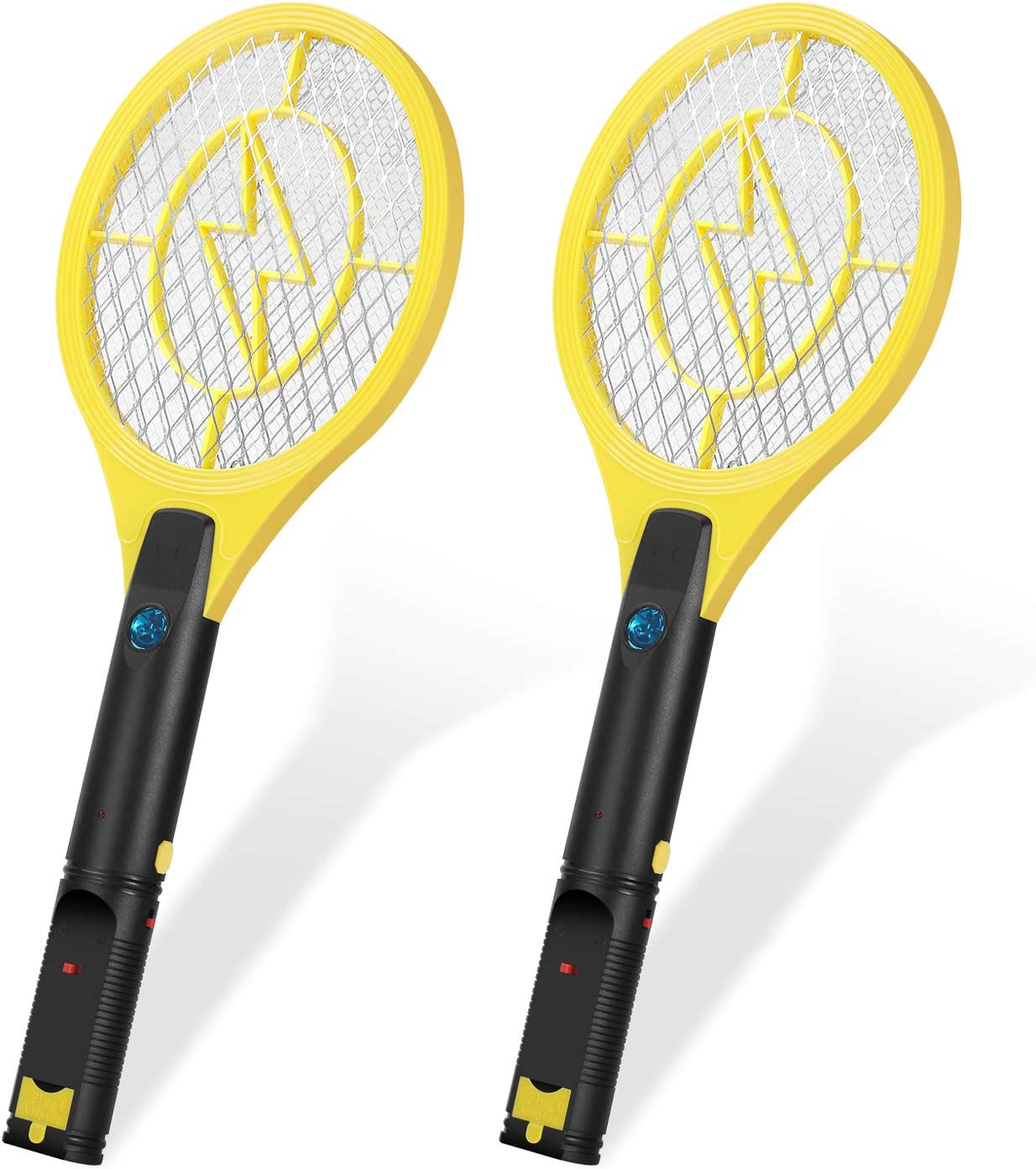 """Flexzion Electric Mosquito Zapper Racket 17"""" (2 Pack) Electric Rechargeable Bug Insect Killer/Fly Control Swatter USB Charging for Bedroom Patio Bites Yard Boat Camping Car Decks Indoor Outdoor"""