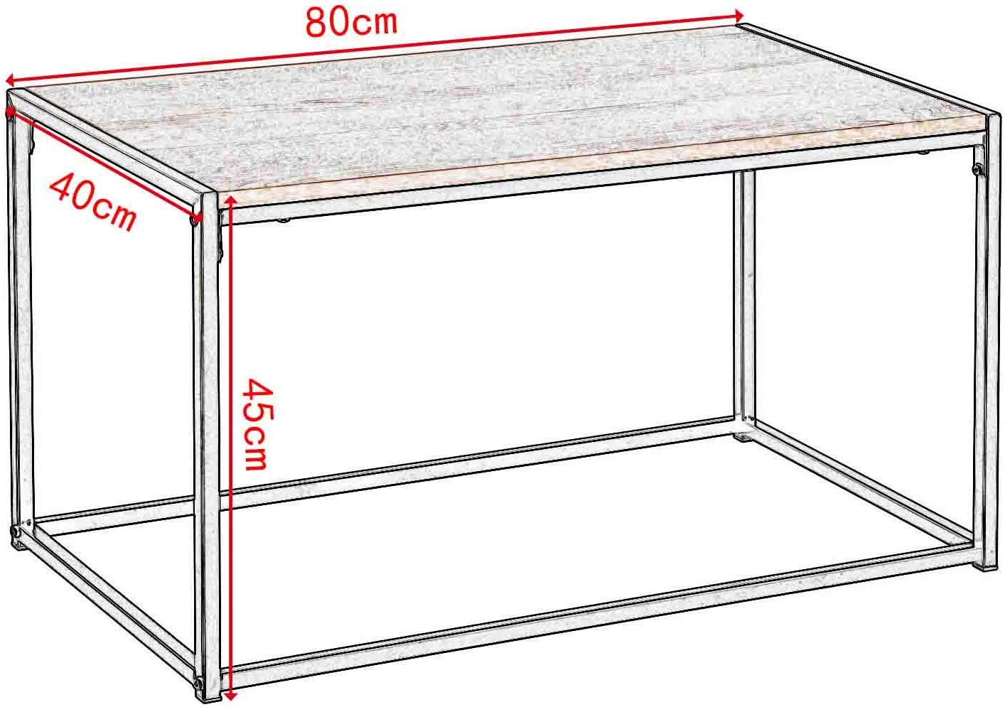 eSituro Tavolino da Salotto Moderno Tavolino Divano da caff/è Tavolino Basso Legno Chiaro 80x40x45cm SCD0040