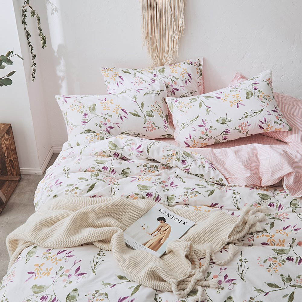 VKStar Botanical Flowers Branches Pattern Printed Duvet Cover Set Adults Queen 100% Cotton Floral Bedding Teenagers/Students Garden Style Leaves Birds 3pcs Duvet Cover with Zipper Closure