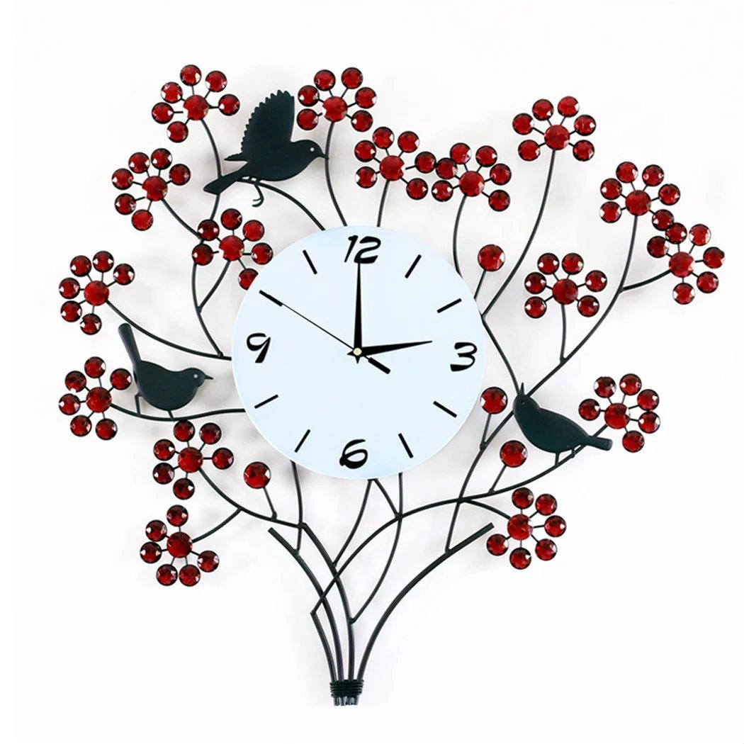 【UNUSUAL】壁時計 財神の樹 掛け時計 レッド 赤色 花束 ウォールクロック 音しない インテリア掛時計 自然風 おしゃれな時計 アンティーク調 壁掛式 ディズニー アクセサリー ポーチ付き B01JRDOYXO レッド レッド