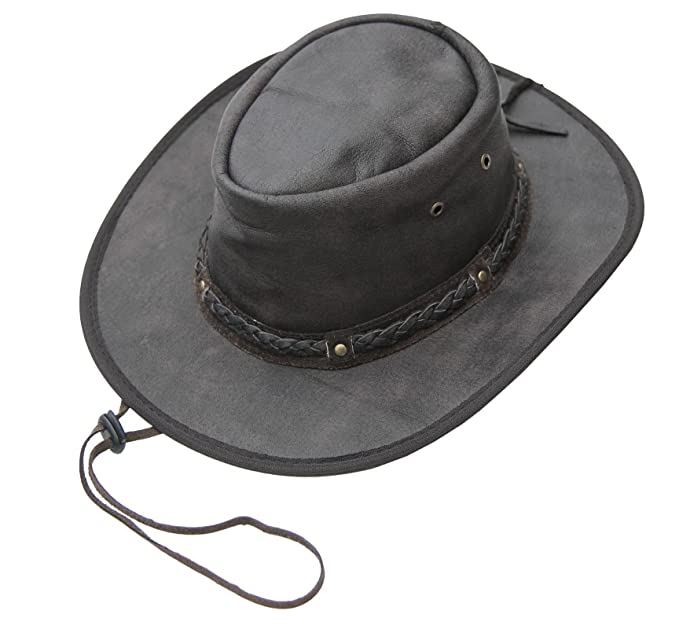 3aee40d7 Wombat Unisex Soft Brown Distressed Style Crushable Leather Bush Hat Chin  Strap Men's Woman's Small
