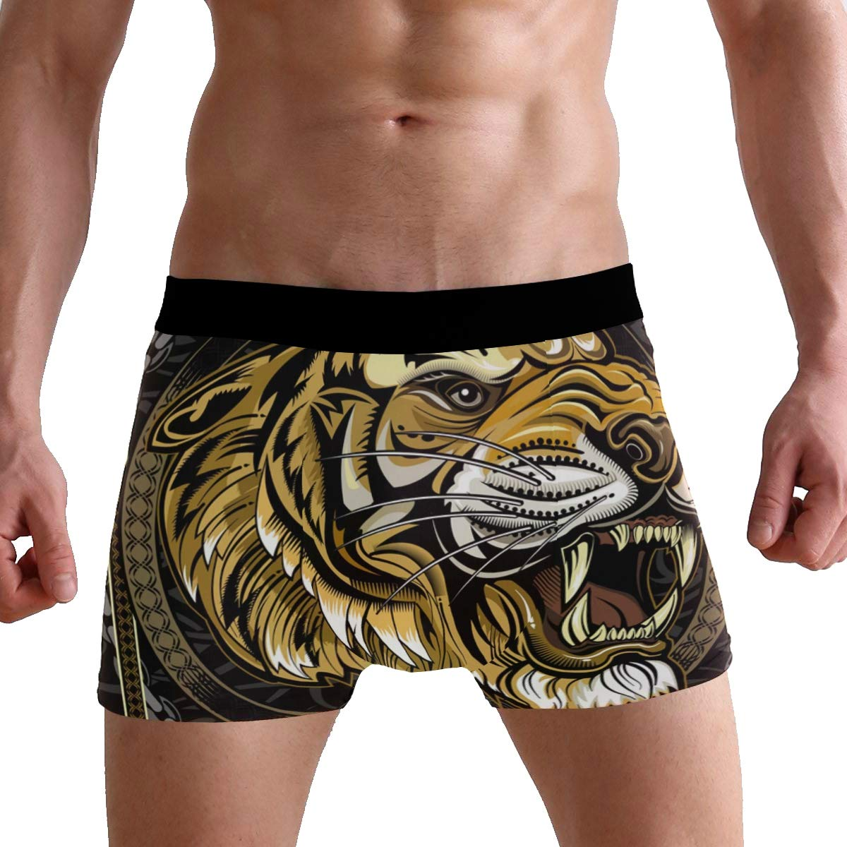 King Tiger with Crown Mens Underwear Soft Polyester Boxer Brief for Men Adult Teen Children