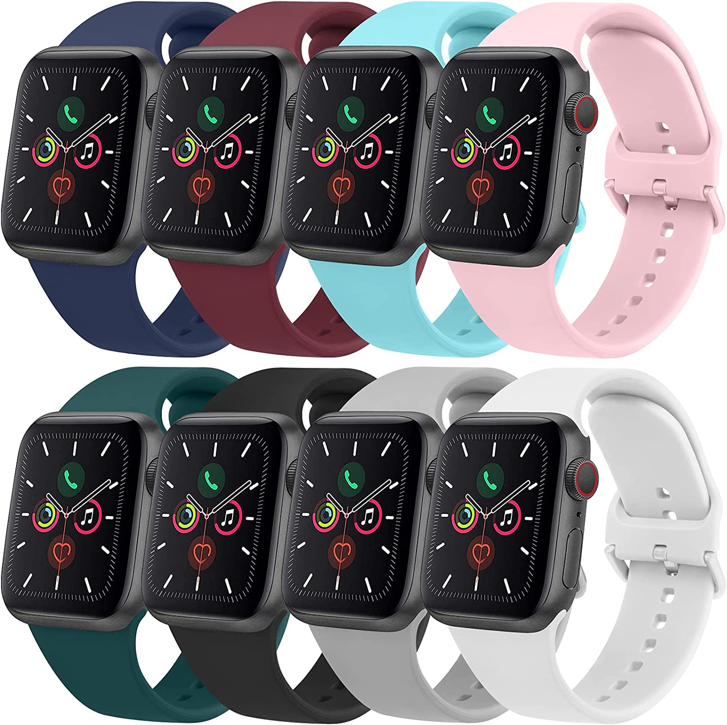 [8 PACK] Bands Compatible with Apple Watch Bands 44mm 42mm 40mm 38mm for Women Men, Replacement Strap with Classic Buckle for iWatch Series SE 6 5 4 3 2 1