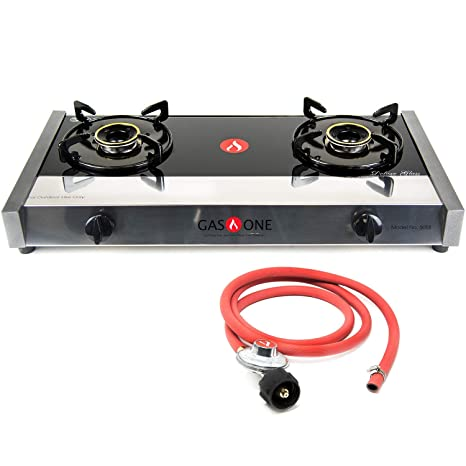 Gas One 5058 Premium Gas Stove Range with Propane Regulator-2 Burner Tempered Glass Cooktop