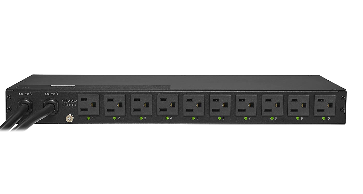 1U Rackmount CyberPower PDU15SW10ATNET Switched ATS PDU 100-120V//15A 10 Outlets