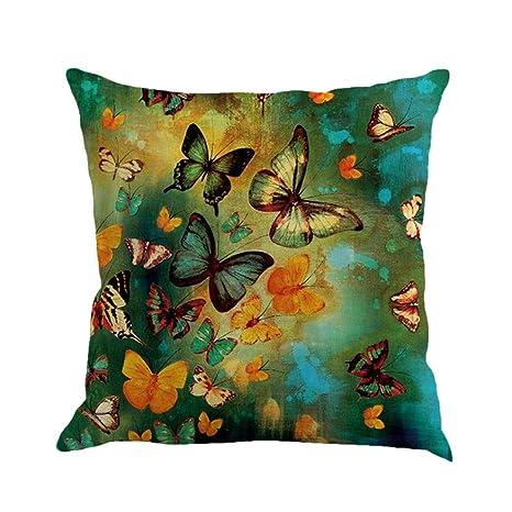 Manadlian_Funda Cojines Funda Cojines, Lino Pintura de Mariposas Sofá Decoración del hogar Funda de Almohada Throw Waist (D)