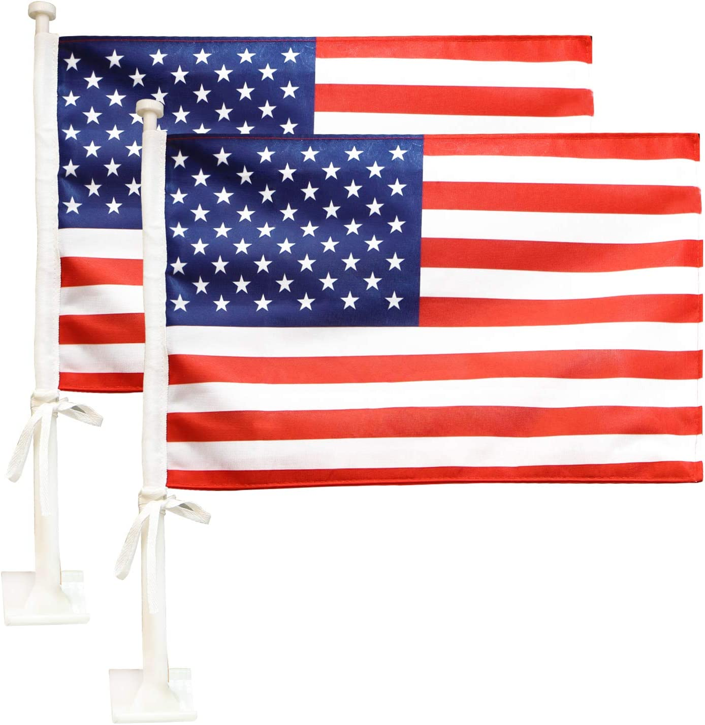 """Anley Car Flag with Flagpole Mount & American Flag - 17"""" x 11"""" Premium Double Sided USA Flag - 19"""" Flag Pole Fixed Window Clip Mount for Most Vehicle Window(2 Pack)"""