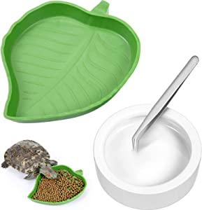4 Pieces Reptile Food Water Bowls Include Leaf Worm Dish and Lizard Gecko Ceramic Pet Bowls Plate Mini Reptile Feeder for Tortoise Corn Snake Crawl Bearded Dragon Chameleon Hermit Crab Cricket