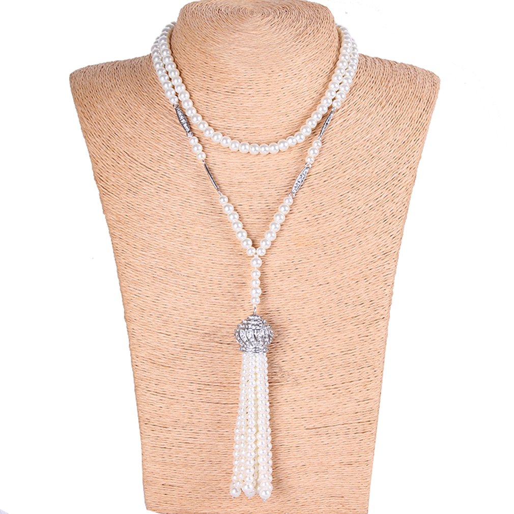 YallFF Faux Pearl Necklace for Women Great Gatsby Accessories Art Deco 1920's Flapper Beads Tassel Long Necklace 05K0006