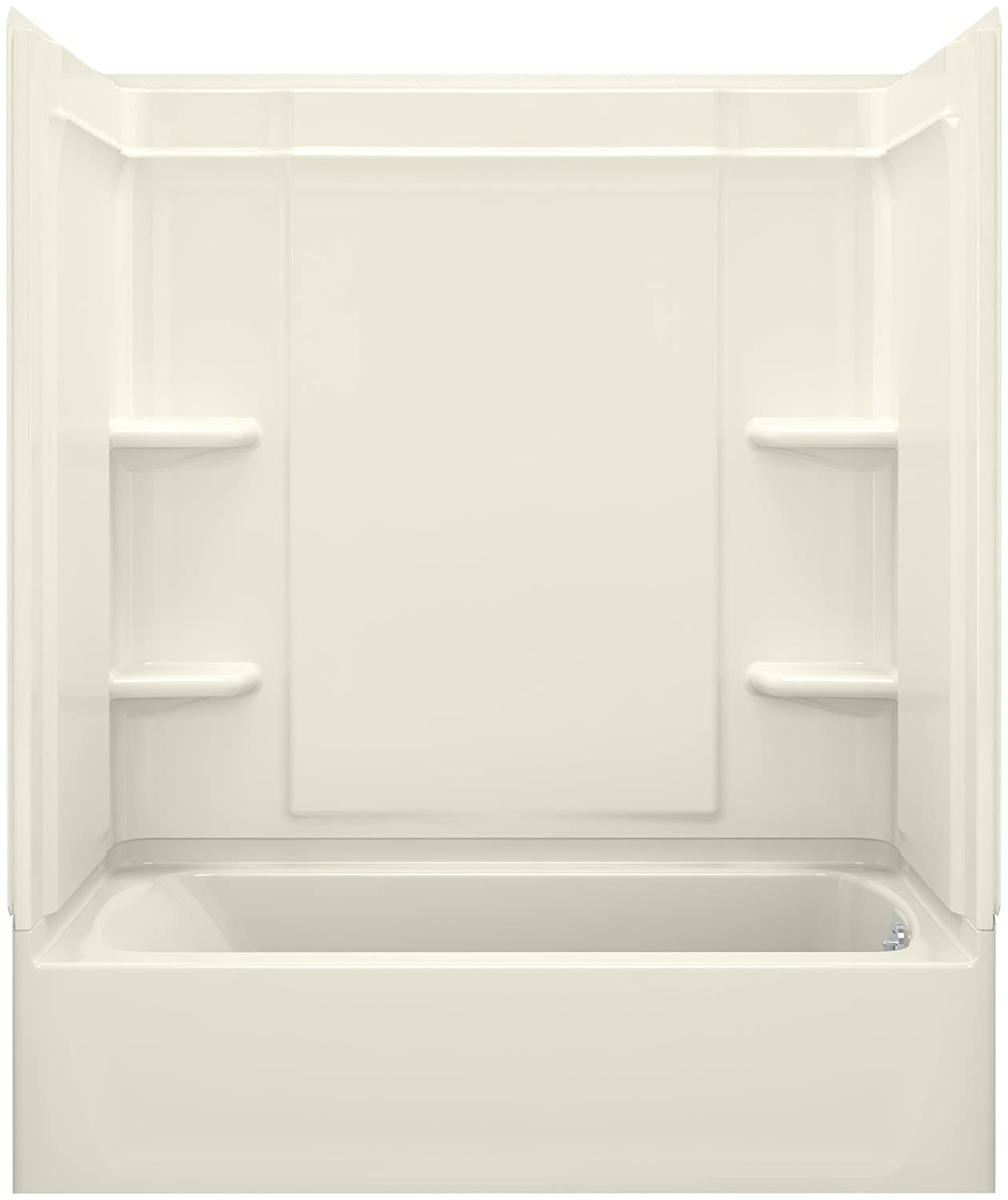 STERLING, a KOHLER Company 71370120-96 Ensemble 31.25-In X 60.25-In X 73-In Bathtub And Shower Kit with Right Hand Drain, Biscuit