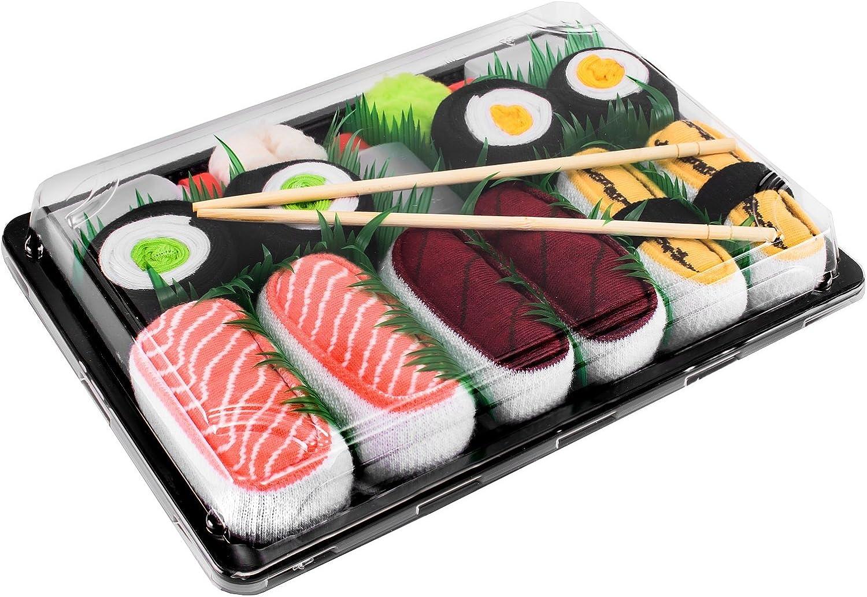 Rainbow Socks - Mujer Hombre Calcetines Sushi Salmón Tamago Atún 2x Maki - 5 Pares