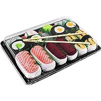 Sushi Socks Box - 5 paia di CALZINI SUSHI: Salmone Tamago Tonno Cetriolo Oshinko Maki, Idea REGALO Divertente, Calze fantasia di COTONE|per Donna e Uomo, Certificato OEKO-TEX, Prodotto in Europa