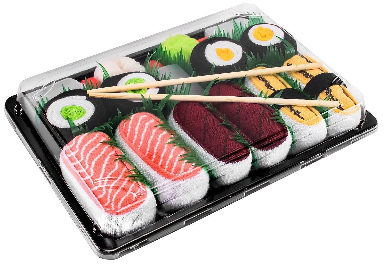 Sushi Socken 5 Paar Lachs Tamago Thunfisch Gurke Maki, Maki Oshinko EU 36-40 41-46 in Europa hergestellt ideal als Geschenk! Originelle Socken bester Qualität mit Öko-Tex-Zertifikat