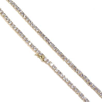 Amazon.com: Chapado en oro de 18 K collar de tenis, Acero ...