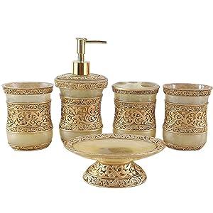 Resin 5PC Bathroom Accessories Set Soap Dispenser/Toothbrush Holder/Tumbler/Soap Dish