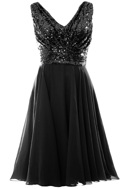 MACloth Women V Neck Sequin Chiffon Short Bridesmaid Dress Formal Evening Gown (Custom Size, Black) by MACloth (Image #1)