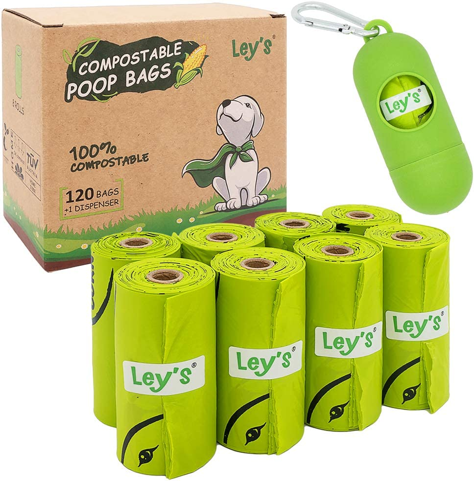 Ley's Dog Poop Bags, Home Compostable Doggie Waste Bags with Dispenser, Unscented, Vegetable-Based, Extra Thick and Strong, Doggy Bags Refill Rolls
