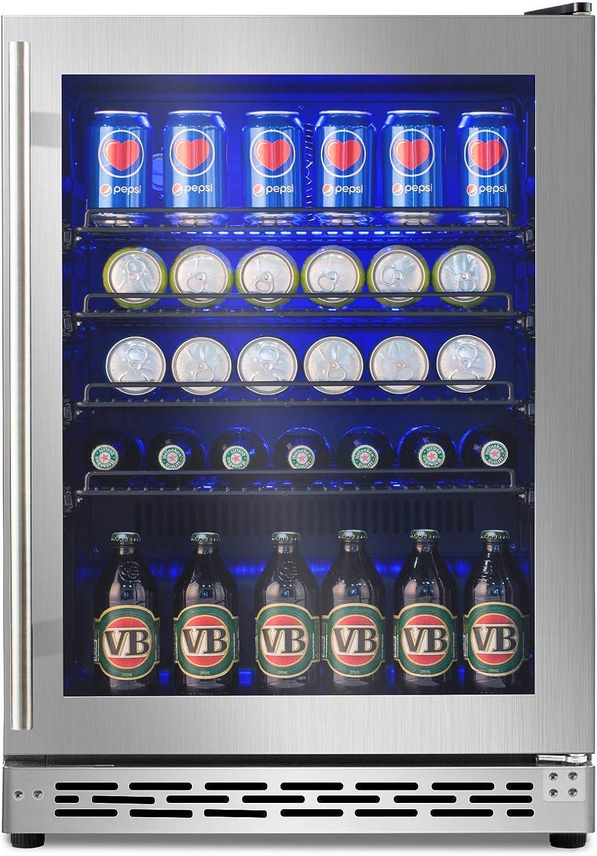 Advanics 24 Inch Beverage Cooler & Refrigerator with Glass Door, Auto Defrost 5.8 cu.ft. Beer & Soda Fridge for Bar Office, Built in & Freestanding