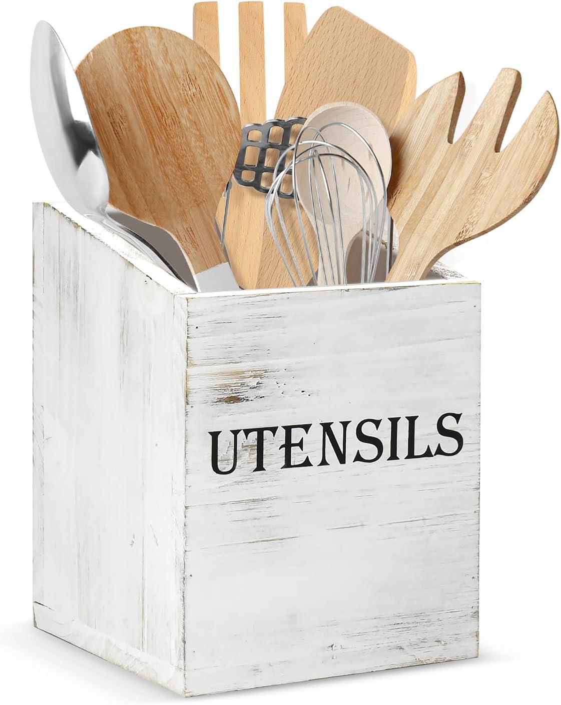 Wooden Kitchen Utensils Holder, Kitchen Countertop Organizer, Kitchen Counter Decor, Spatula, Spoon and Silverware Holder, Cooking Utensil Holder, Utensil Caddy (White)