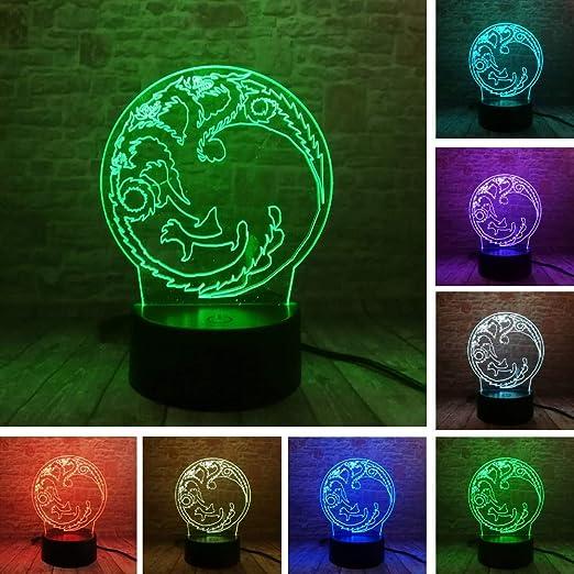 Luminaria nueva 3D ronda dragon totem 7 color luz de la ...