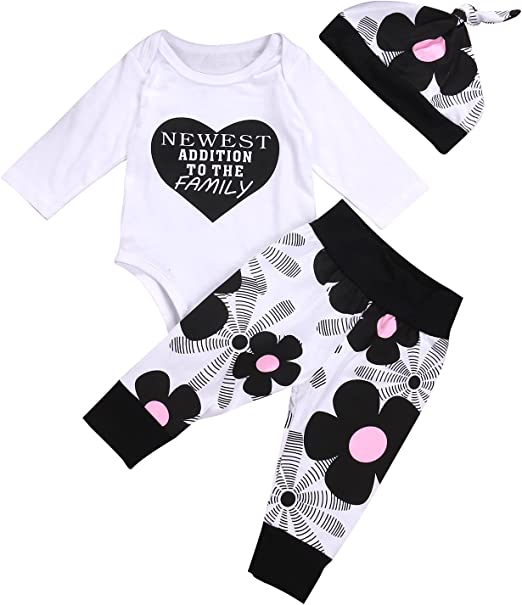 3PCS Newborn Baby Boy Girls Kids Romper Tops+Long Pants+Hat Outfits Clothes Set