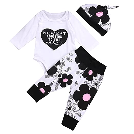 b1d7b3c1825 Amazon.com  Aliven Newborn Baby Girl Bodysuit Romper + Floral Pants +  Flowers Hat Outfits Clothes-