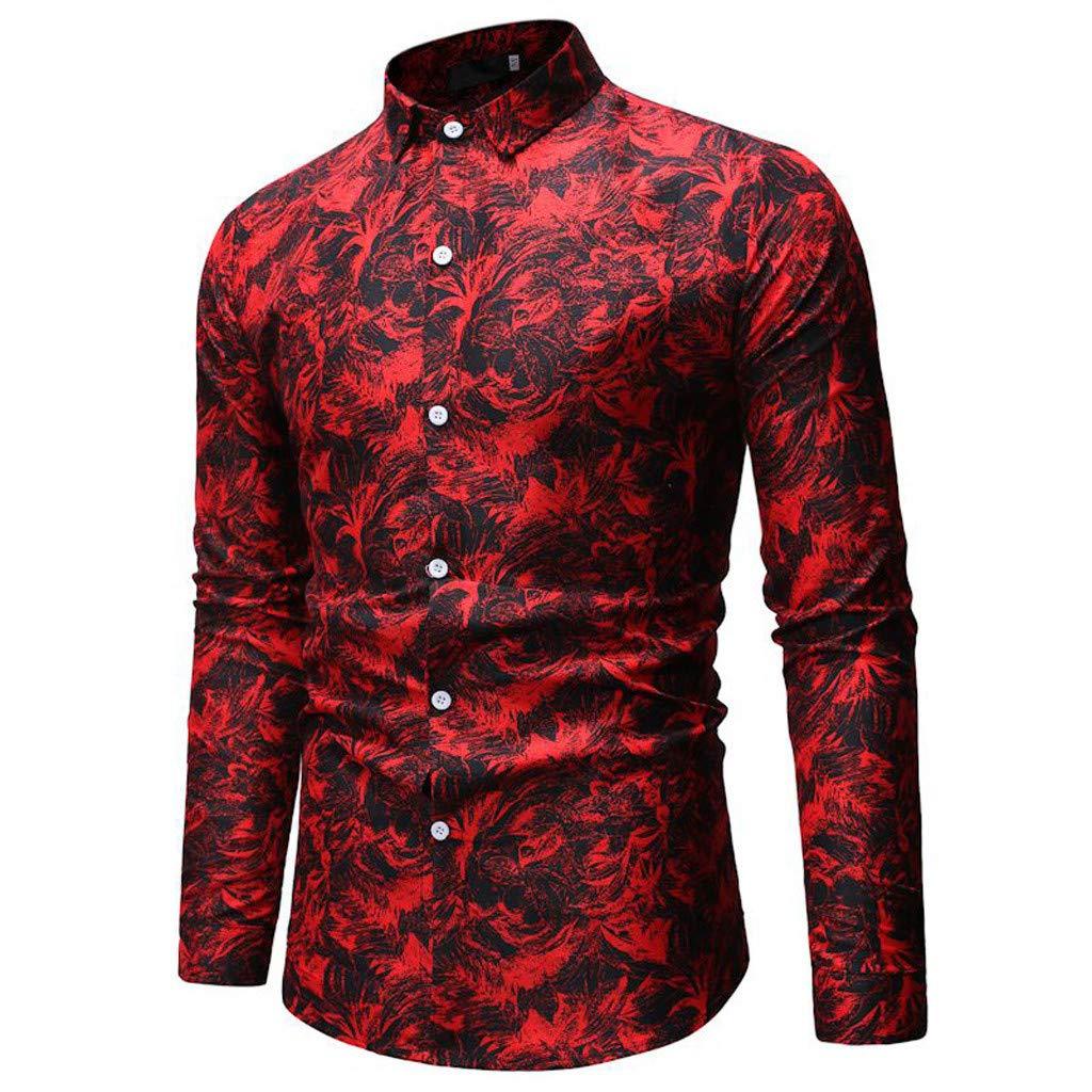 Lazzboy Uomo Camicia Tops Print Button Manica Lunga Collo Colletto da Uomo Oxford Casual Blusa