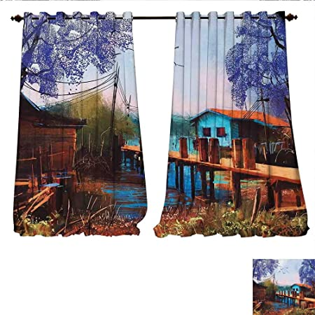 WilliamsDecor Window Curtain Fabric Vintage Hand Drawn Artisan Picture Of  Fishing Village With Old Bridge And