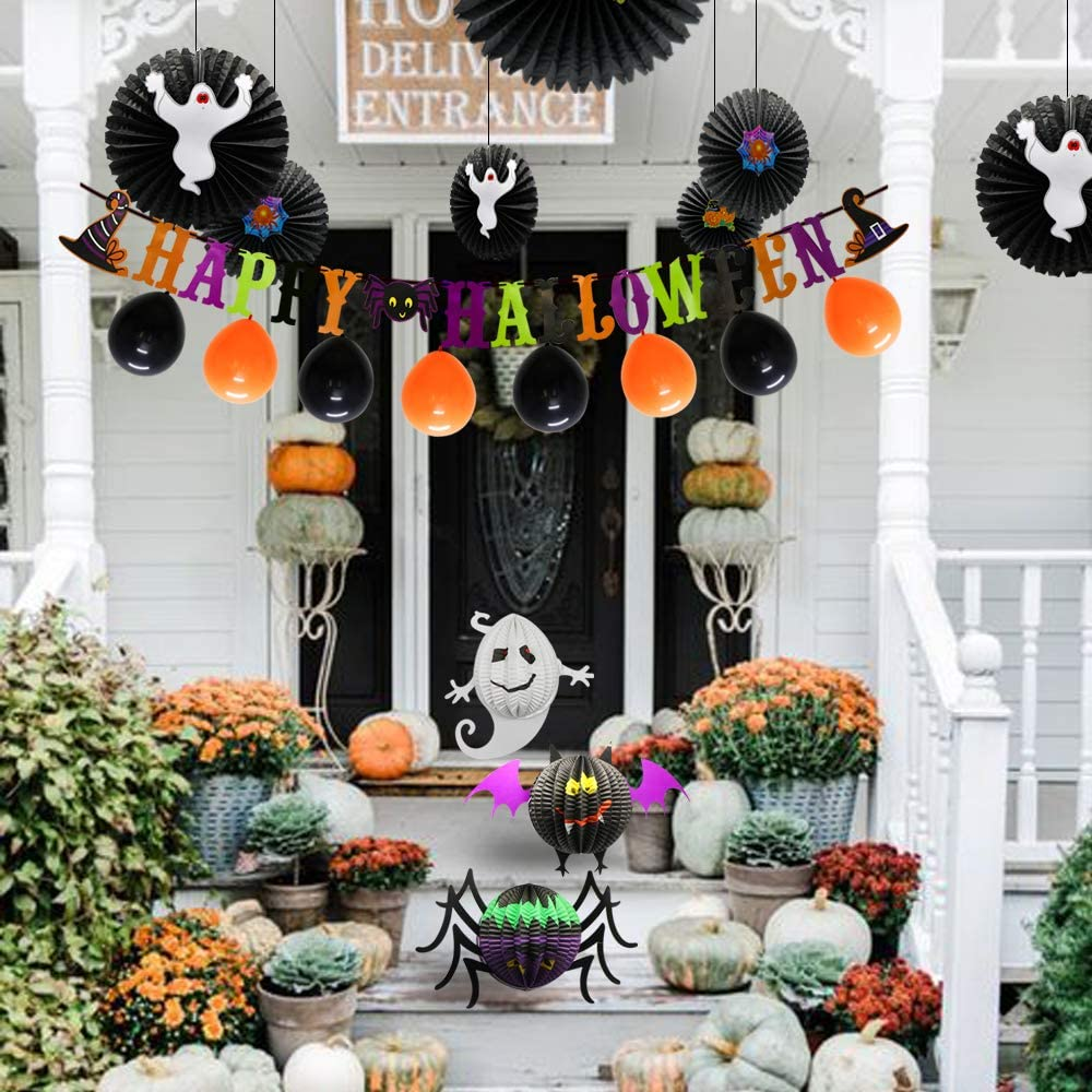 Halloween Party Decoration Supplies Include Happy Halloween Banner Party Balloons Spider Ghost Bat Honeycomb Balls Hanging Paper Fans for Kids Adult Birthday Baby Shower Indoor Outdoor
