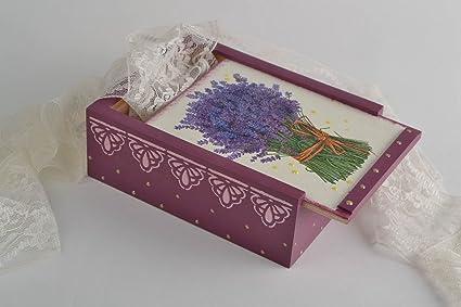 Caja de madera decorada de la tecnica de decoupage hecha a mano original