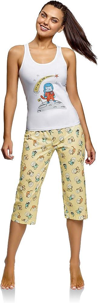 oodji Ultra Mujer Pijama con Pantalones y Estampado Gato, Blanco ...