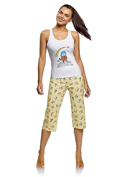 oodji Ultra Womens Printed Pajama Set of Tank Top and Shorts