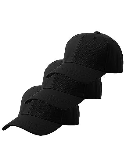 cc27c98b3 Unisex Plain Structured Curved Visor Adjustable Velcro Baseball Cap Hat - 3  Pack Value