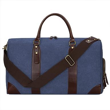 S-ZONE Canvas Leather Trim Travel Tote Duffel Shoulder Handbag Weekender Bag  Blue 4b3b66e571ff6