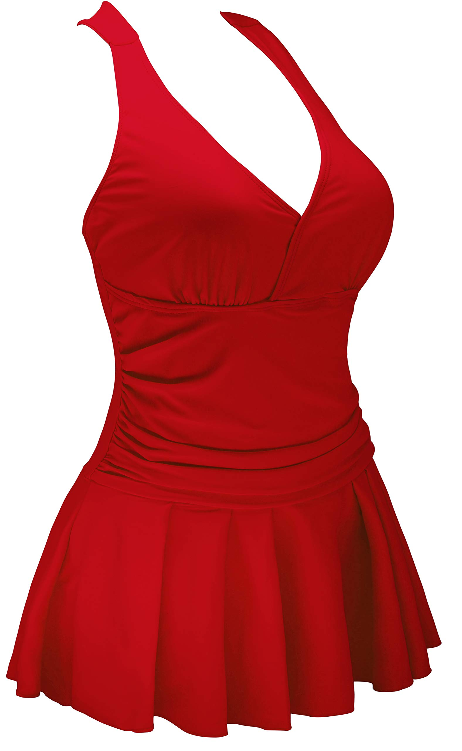 AONTUS High Waisted Swimwear Bottoms Leggings Shorts Tops (Red,3XL)