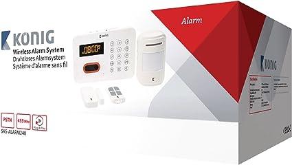 Sistema de Alarma Inal/ámbrico con Marcador Telef/ónico Incorporado Blanco Konig SAS-ALARM240
