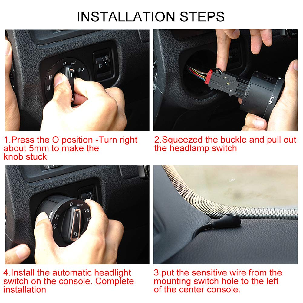 Car Auto Light Lamp Control Sensor Module for MK4 B5 Aramox Headlight Switch 1C0941531, 3BD941531, 3BD941531A