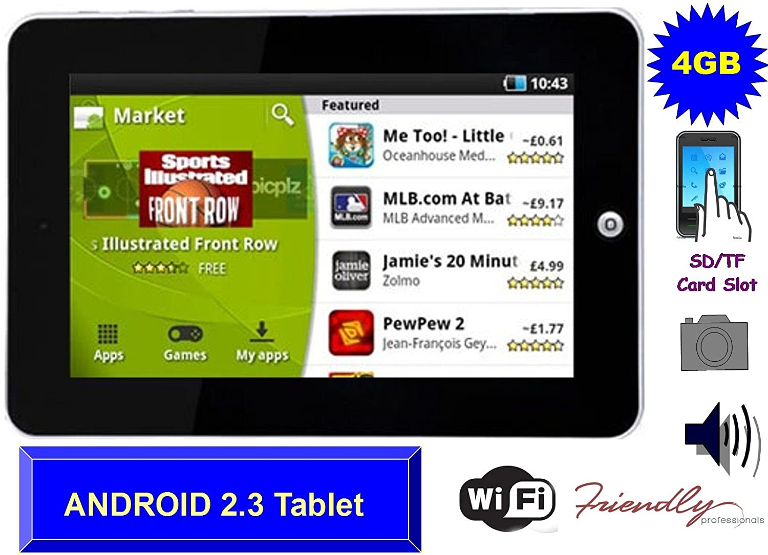 M009F (Replacement for the bestselling M009S) 7 inch 4GB Google Android  Tablet PC - Cheapest 2 3 Android Tablet works with Flash 10 1 - WiFi ,