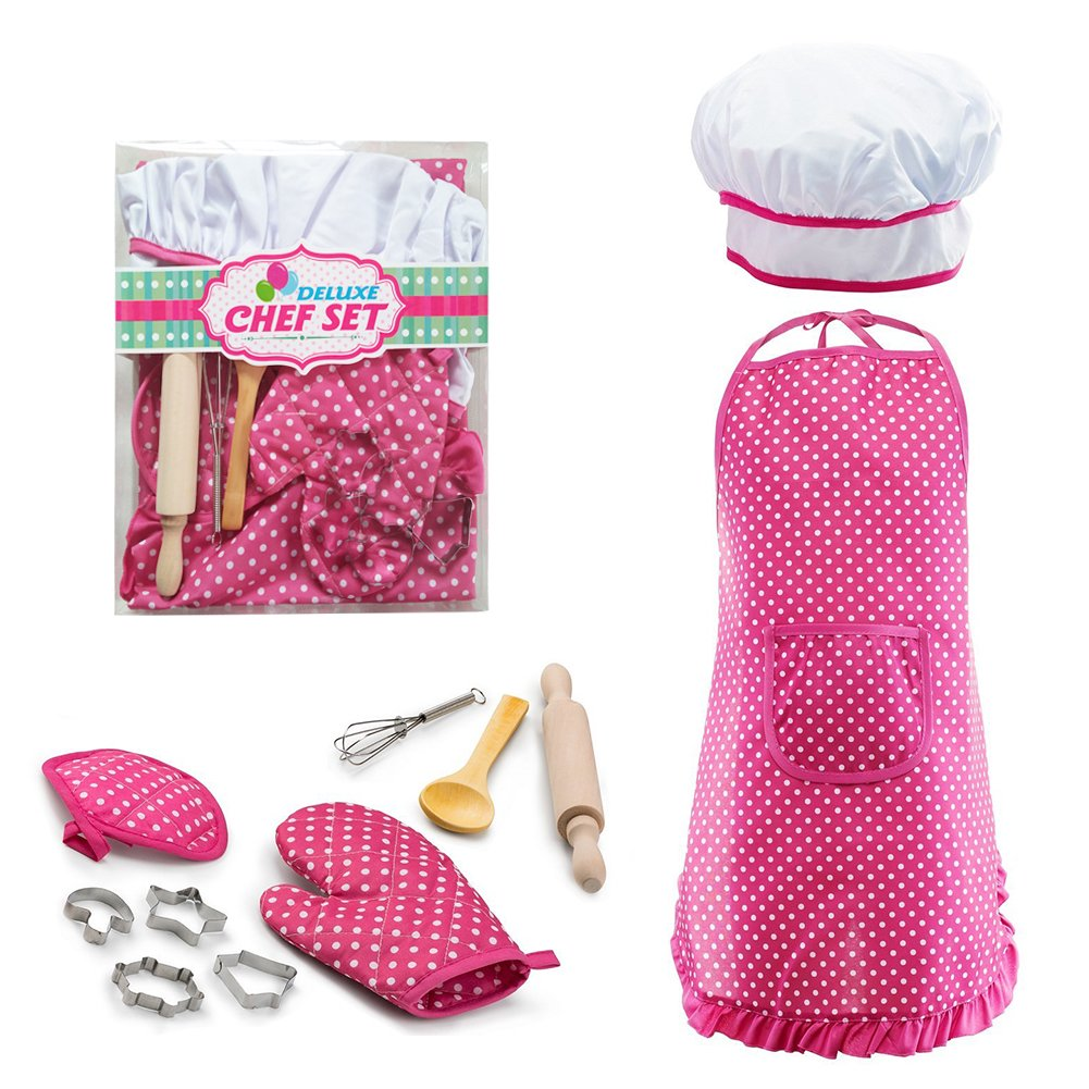 Children Bakeware Kit Include Apron,Oven Glove,Eggbeater Cookie Cutters Real Baking Supplies Kitchen Chef Costume For Children-Blue Per 11pcs Kids Baking Set