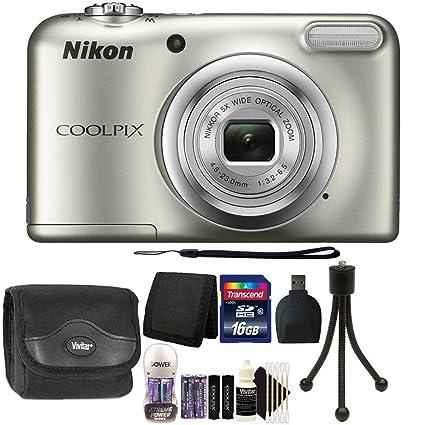 Nikon COOLPIX A10 16.1 MP Digital Camera (Silver) + 16GB Memory Card + Wallet