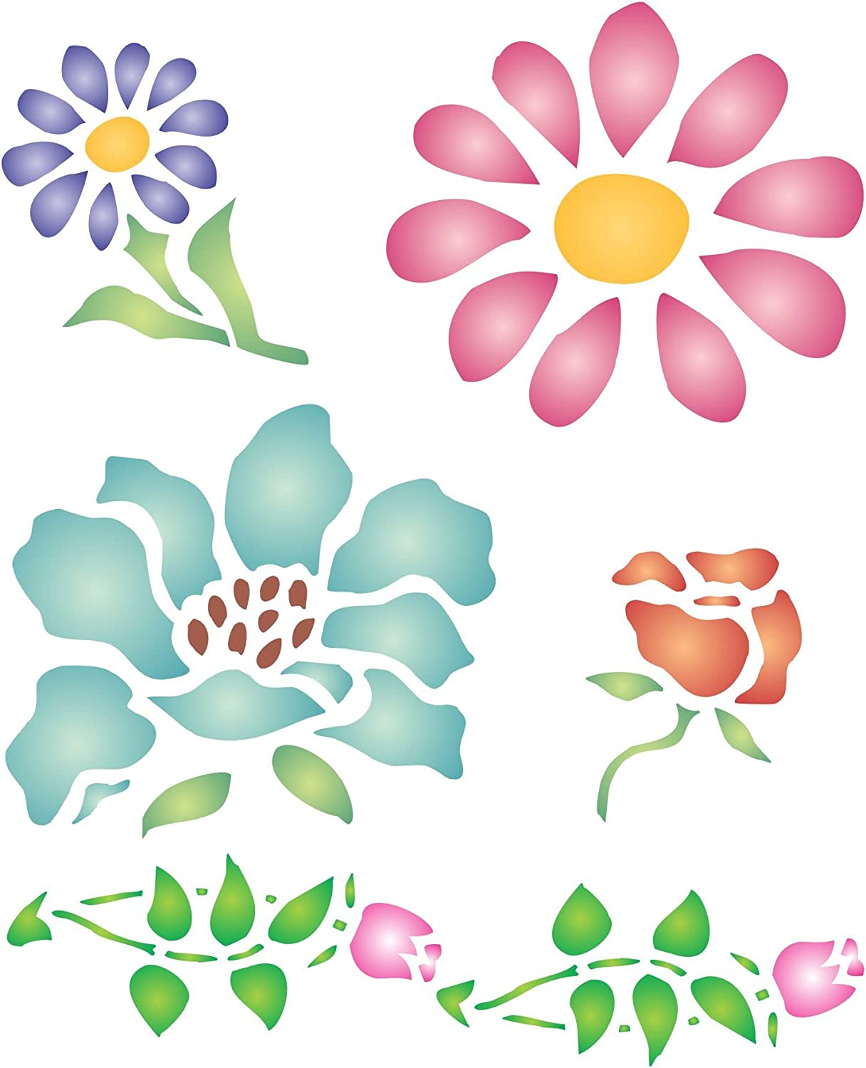 DIY Decorative Poppy Flower Stencil Template for Scrapbooking Painting on Wall Furniture Crafts Set of 6 Flower