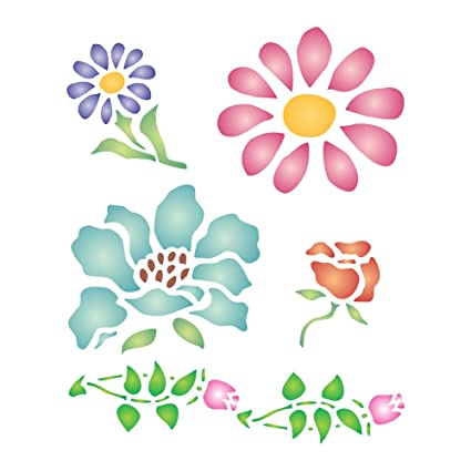 amazon com flower stencil size 5 w x 6 h reusable stencils for