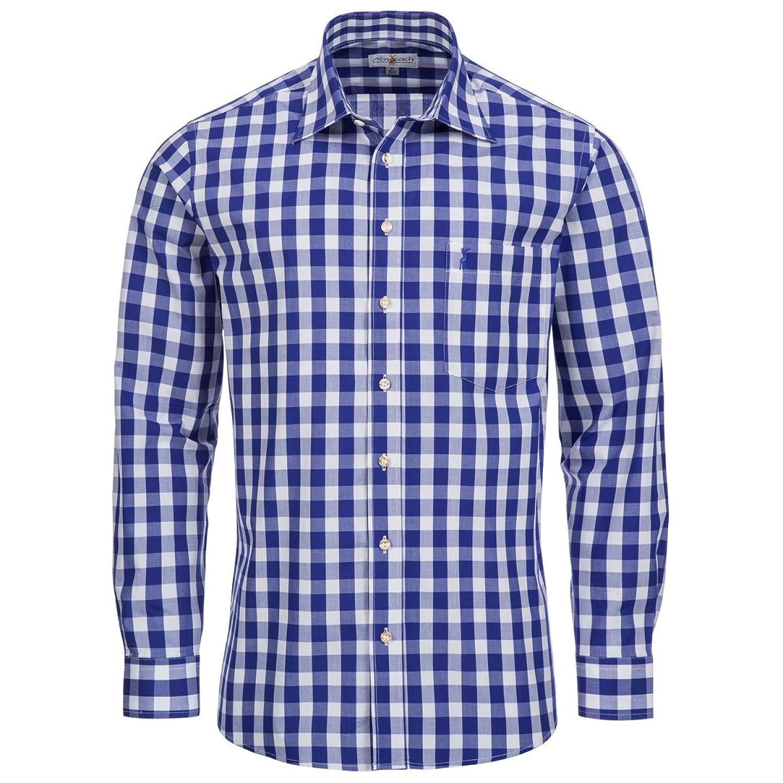 großkariertes Trachtenhemd Regular Fit in blau von Almsach