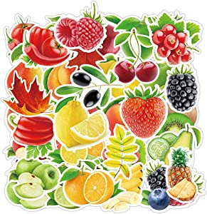 Jasion 100-Pcs Watercolor Fruits and Vegetables Stickers PVC Graffiti Decals Waterproof Sunlight-Proof DIY Ideals for Water Bottles Cars Motorcycle Skateboard Portable Luggages Ipad Laptops