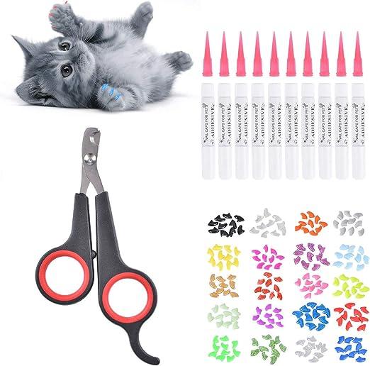 Queta - Protector de cal para gatos y cortaúñas, 200 fundas para uñas de gato en 20 colores (20 cápsulas/paquete) con adhesivo. Con cortaúñas del gato negro.: Amazon.es: Productos para mascotas