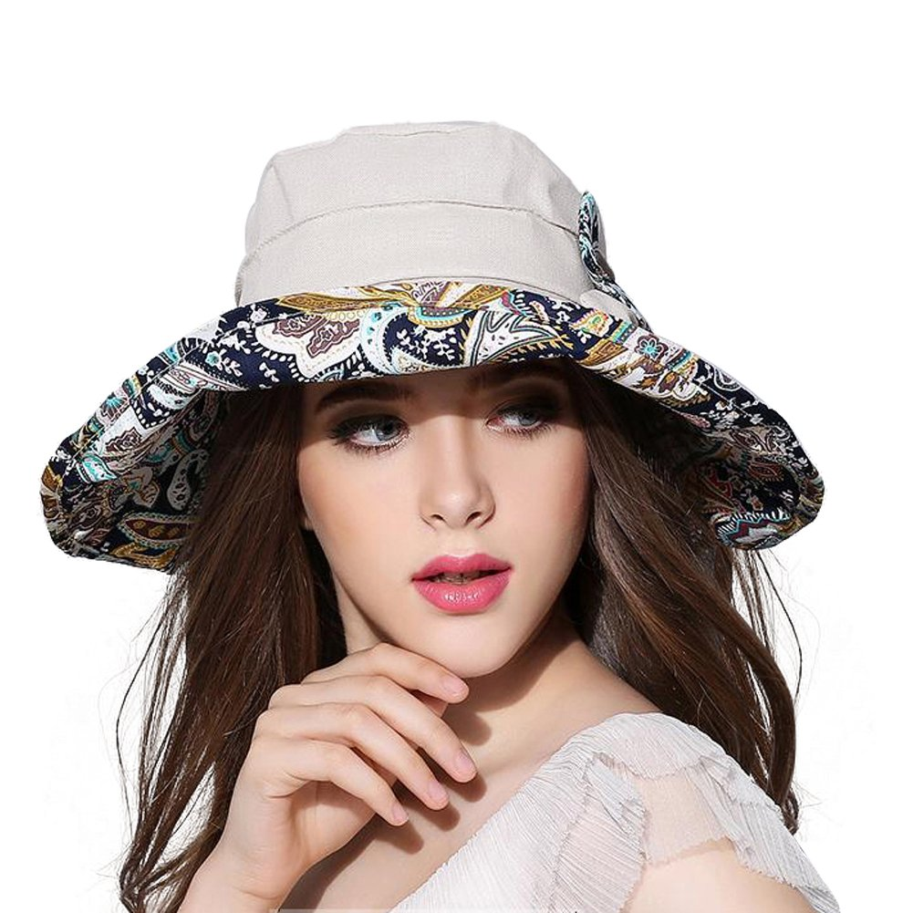 Women Wide Brim Sun Hat Summer Outdoor Foldable Beach Cap Grey