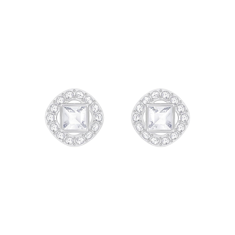 72b11f6ef Swarovski Angelic Square Pierced Earrings, White, Rhodium plating:  Amazon.co.uk: Jewellery