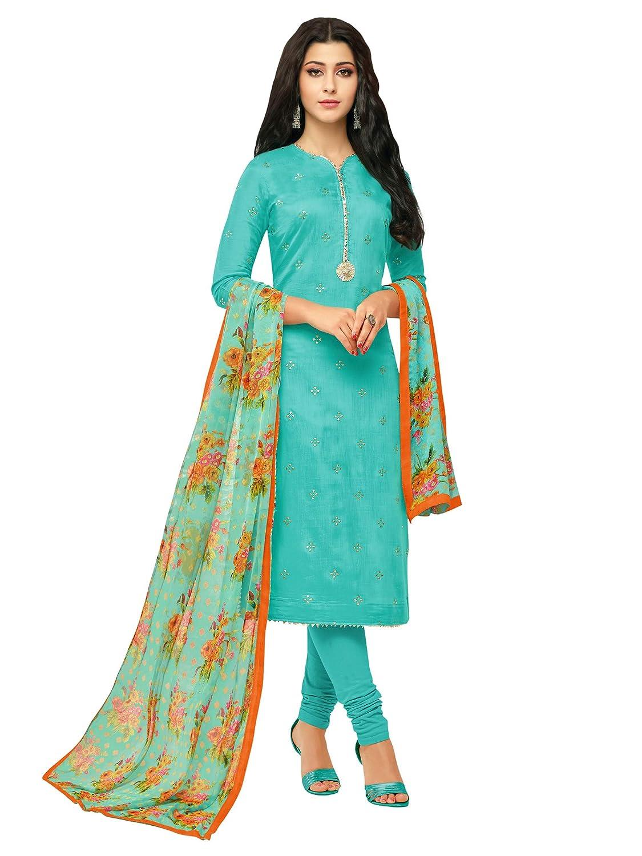 AKHILAM Women's Embroidered Chanderi Cotton Semi-Stitched Chudidar Salwar Suit Dress Material with Chiffon Dupatta (Turquoise_Free Size)