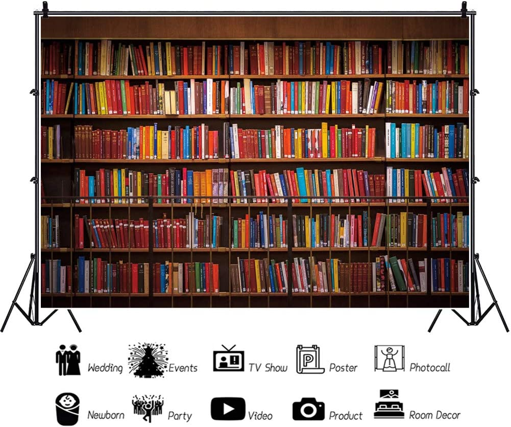 YEELE 10x7ft Public Library Bookshelf Backdrop Colorful Wall of Books on Shelfs Photography Background Back to School Education Knowledge Interior Decoration Kids Adults Portrait Photoshoot Props