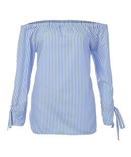 Blusa de manga larga de moda blusa de la mujer Camisas Sexy Off Tops de hombro Luckycat (Azul, X-Large)